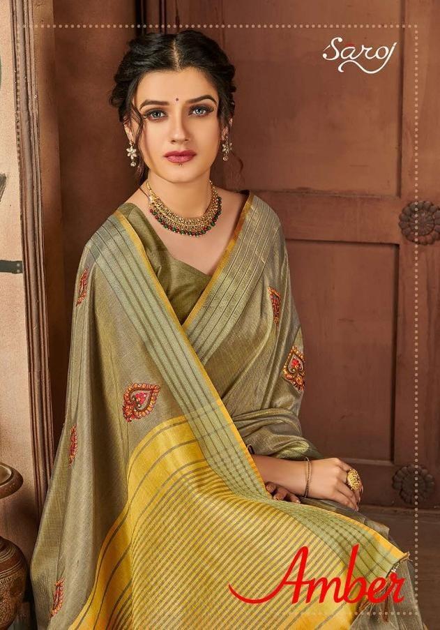 Saroj Saree Amber Designer Party Wear Heavy Embroidery Saree Wholesale