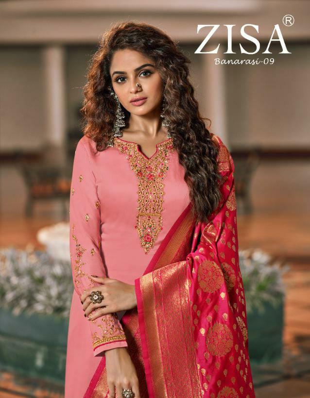 Zisa Banarasi Vol 9 Designer Heavy Work Party Wear Suits Wholesale