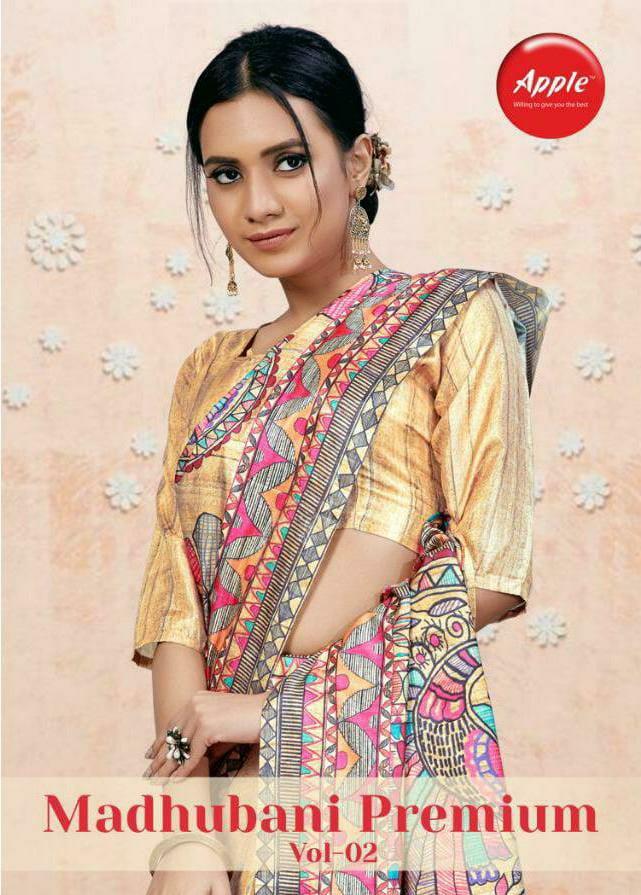 Apple Saree Madhubani Premium Kanjivaram Silk Digital Print Designer Sarees Wholesale