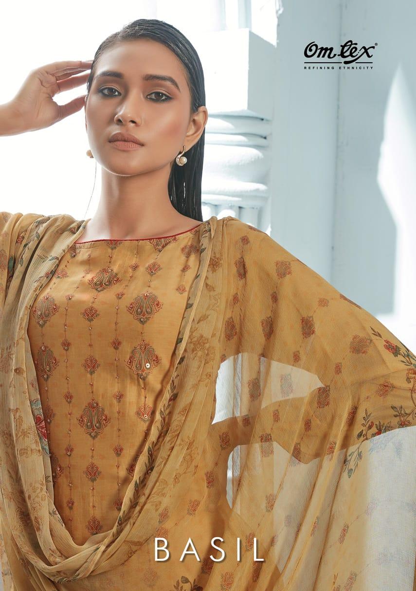 Omtex Basil Enshi Silk Digital Print Designer Parry Wear Heavy Work Suit Wholesale