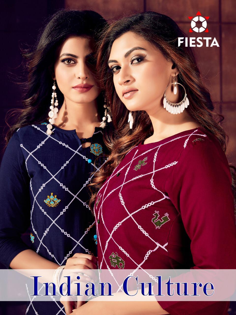 Fiesta Indian Culture Designer Work Embroided Kurties Wholesale