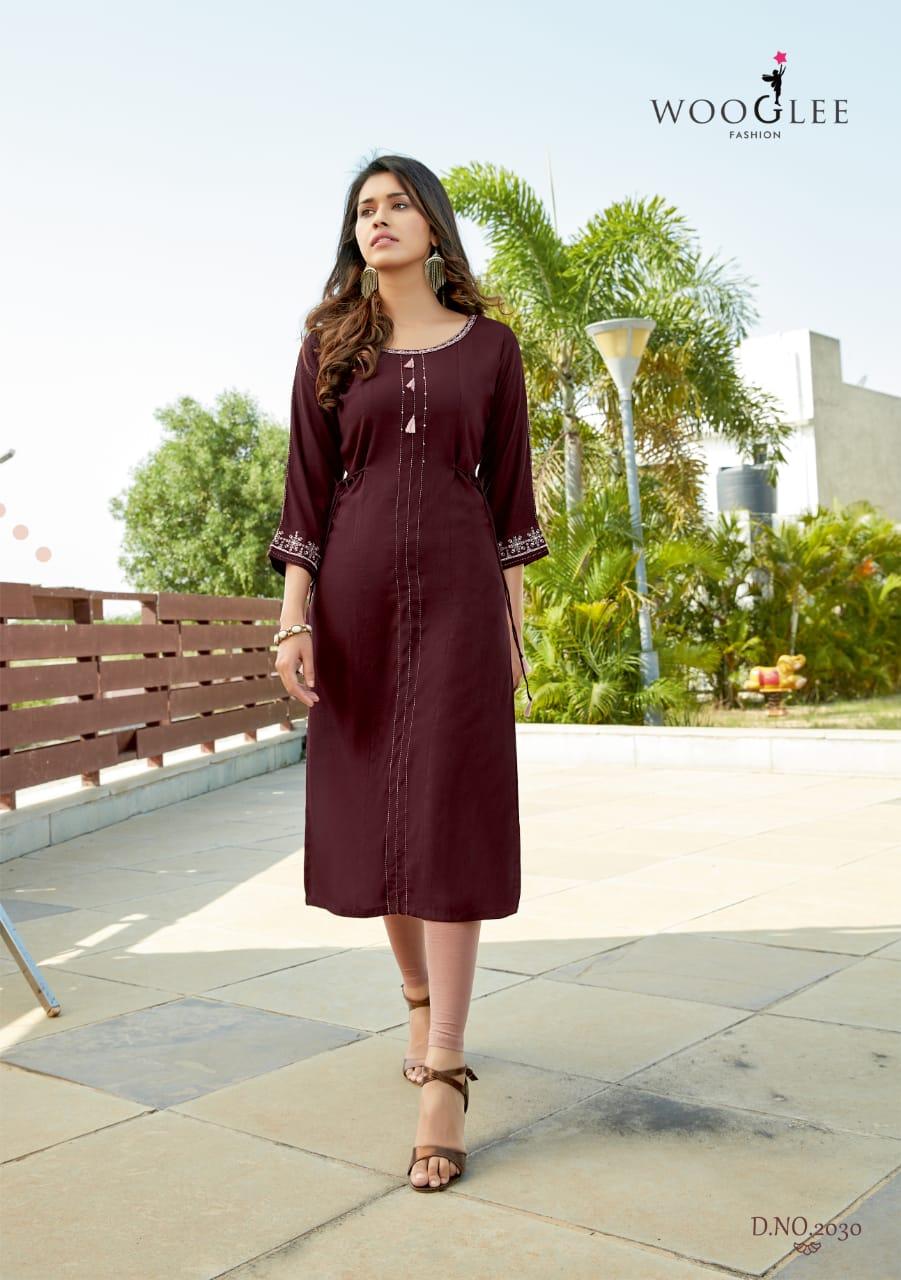 Wooglee Barbella Vol 4 Designer Heavy Embroidery Partu Wear Fashionable Kurti Wholesale