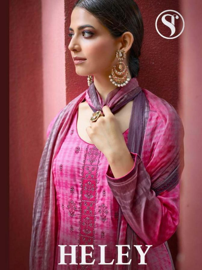 Heley Satin With Thread Work Designer Party Wear Heavy Work Suits Wholesale