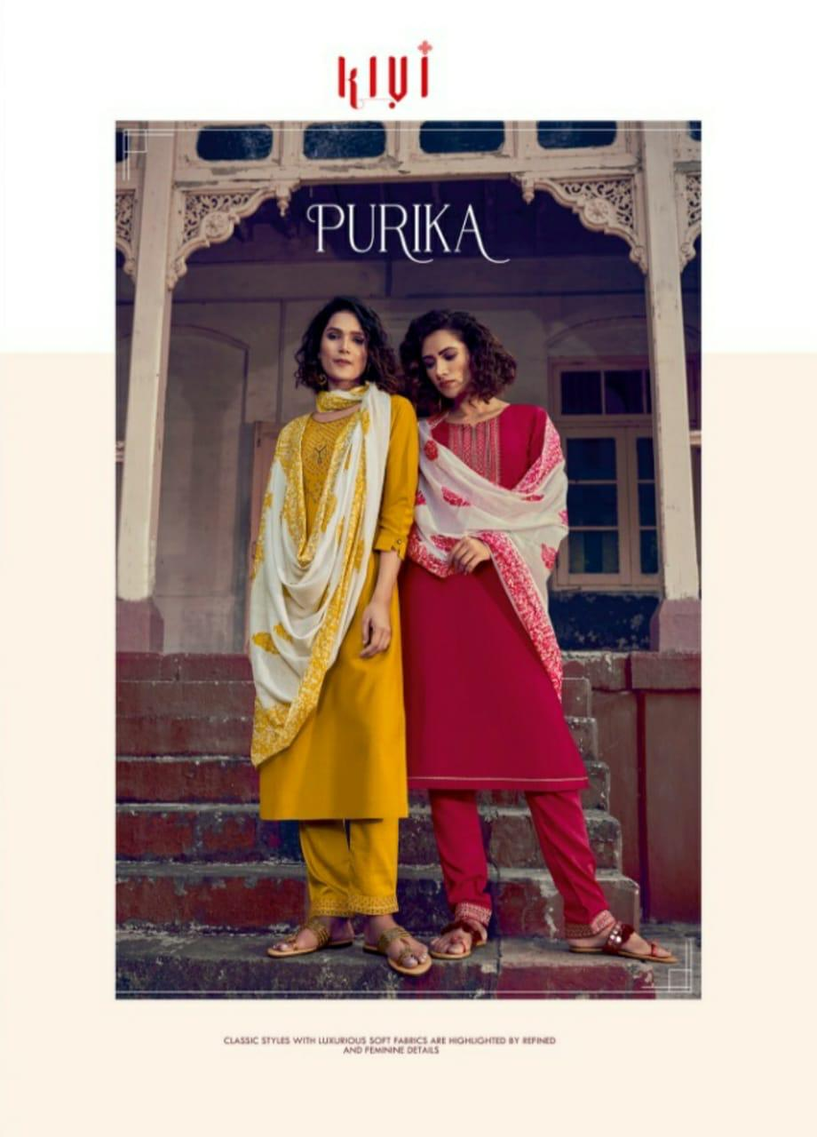 Kivi Purika Lining Silk Embroided Sequence Work Designer Suits Wholesale