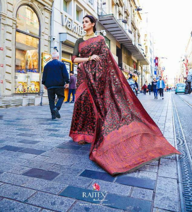 Raj Tex Kaalgi Silk Designer Soft Crystal Silk Partywear Sarees Wholesale