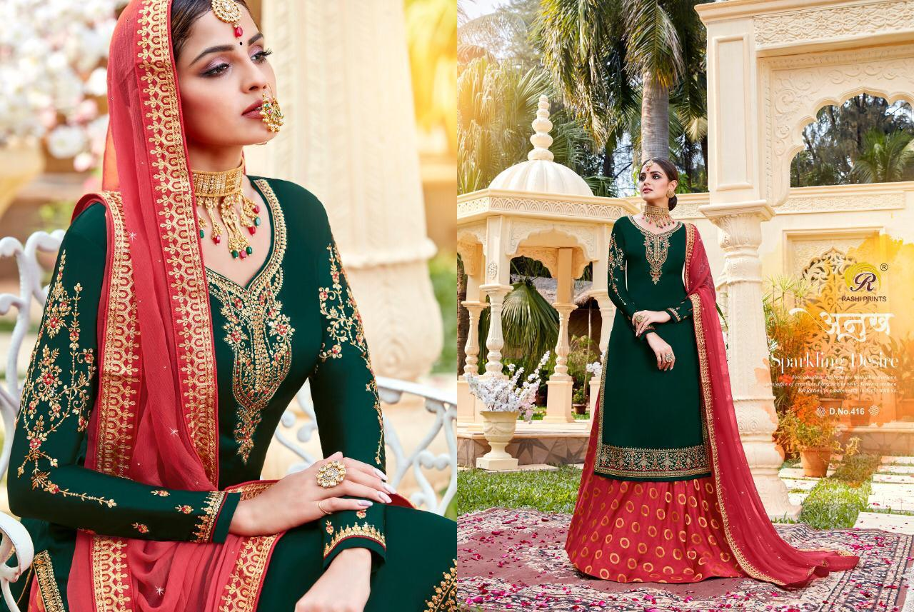 Rashi Jhansi Vol 4 Designer Satin Georgette With Embroidery Work Luxury Quality Wedding Wear Suits In Wholesale Rate