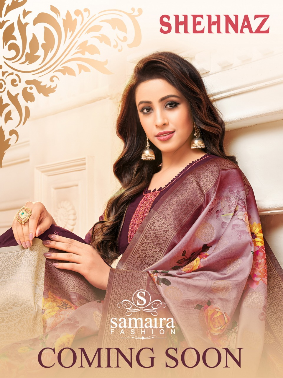 Samaira Fashion Shehnaz Designer Muslin Silk With Embroidery Work Festival Wear Suits In Best Wholesale Rate