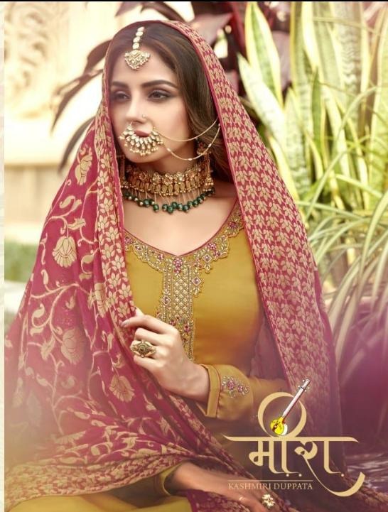 Rashi Prints Meera Designer Exclusive Embroidery Work With Satin Georgette Wedding Wear Suits In Wholesale Rate