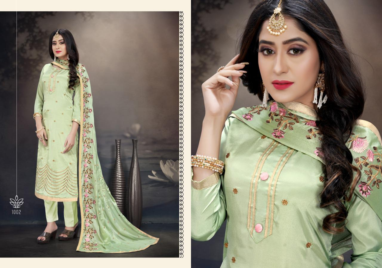 Rani Trendz Harpreet Designer Heavy Silk Crepe Festival Wear Suits In Best Wholesale Rate