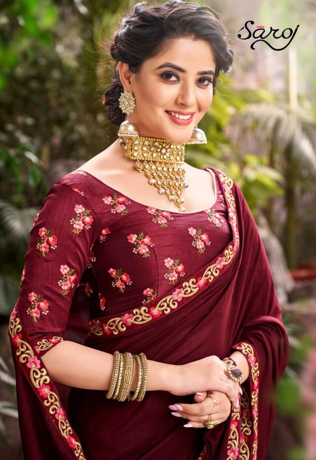 Saroj Sarees Novelty Designer Embroidery Work With Silk Festival Wear Sarees In Best Wholesale Rate