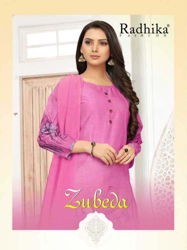 Radhika Zubeda Designer Silk Cotton  Digital Print With Funcy Hand Work Daily Wear Suits In Best Wholesale Rate