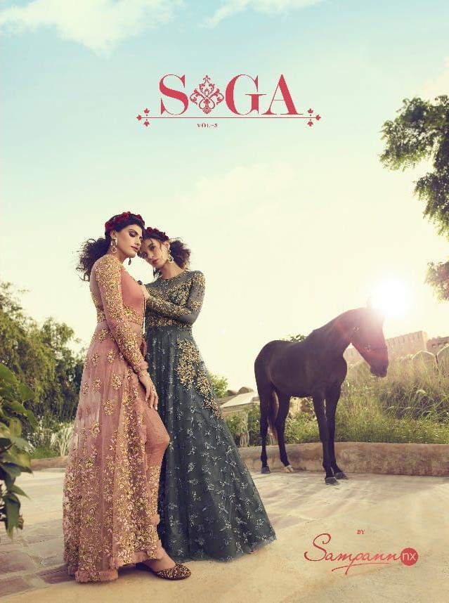Sampann Nx Saga Vol 5 Designer Partywear Semi Stitch Gown With Dupatta In Best Wholesale Rate