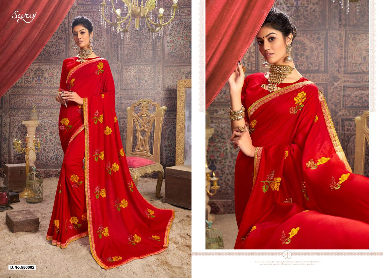 Saroj Saree Spicy Look Designer Silk Embroidery With Flower Work Festival Wear Sarees In Best Wholesale Rate