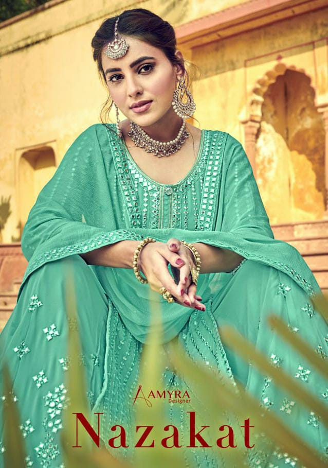 Amyra Nazakat Designer Georgette With Heavy Mirror Embroidery Work Suits Wholesale