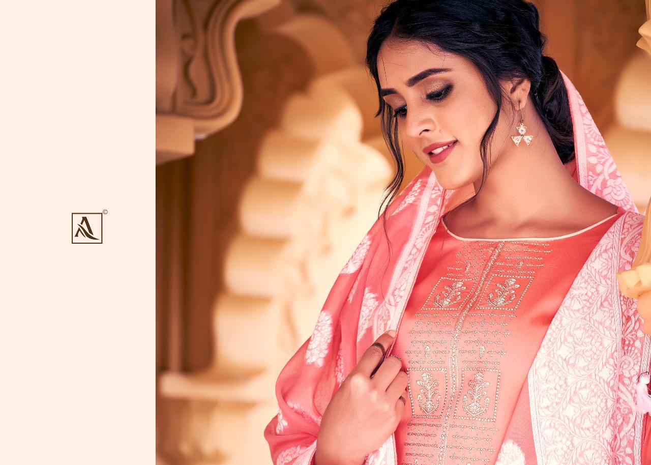 Alok Suit Silver Touch Designer Jam Cotton Lucknowi Thread Work Suits Wholesale