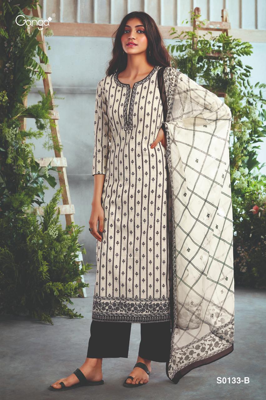 Ganga Myra 133 Designer Cotton Print With Embroidery And Swarovski Work Suits Wholesale