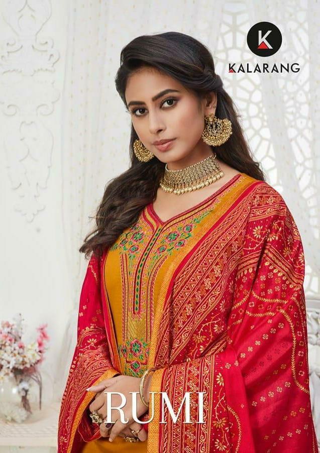 Kalarang Rumi Designer Jam Silk Embroidery Work Suits Wholesale