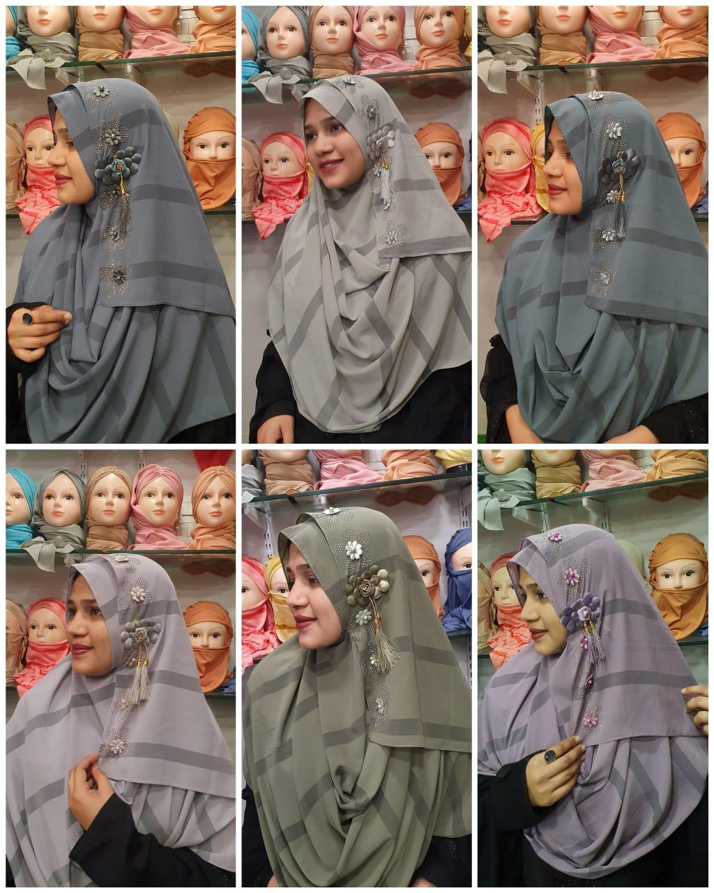Printed Instant Wear Hijab With Diamond And Big Flower In Best Wholesale Rate In Singles