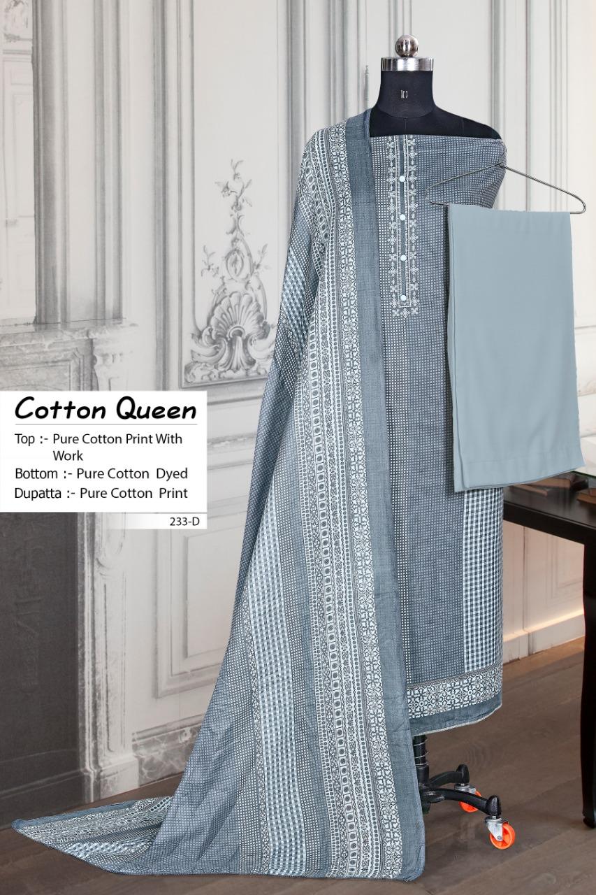Bipson Cotton Queen 233 Designer Cotton Print With Work Suits Wholesale