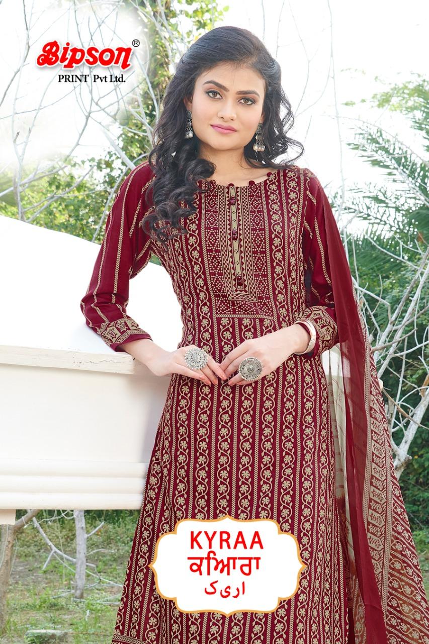 Bipson Kyraa Maroon Designer Cotton Printed Suits Wholesale