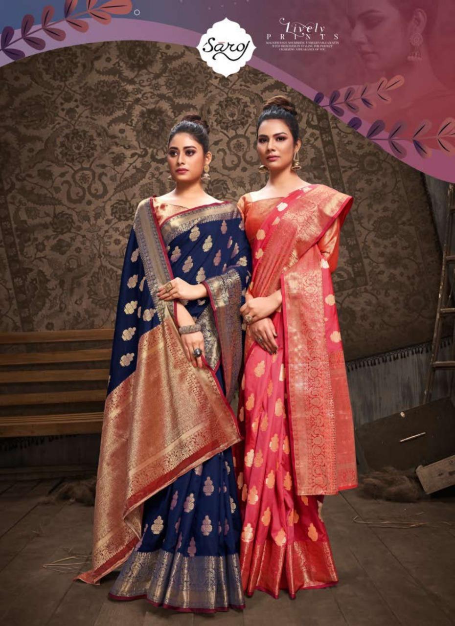 Saroj Tannu Designer Dola Silk With Banarasi Border Sarees Wholesale