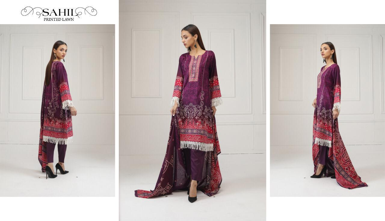 Sahil Lawn Pure Lawn Collection With Mal Mal Dupatta Designer Lawn Cotton Suits Wholesale