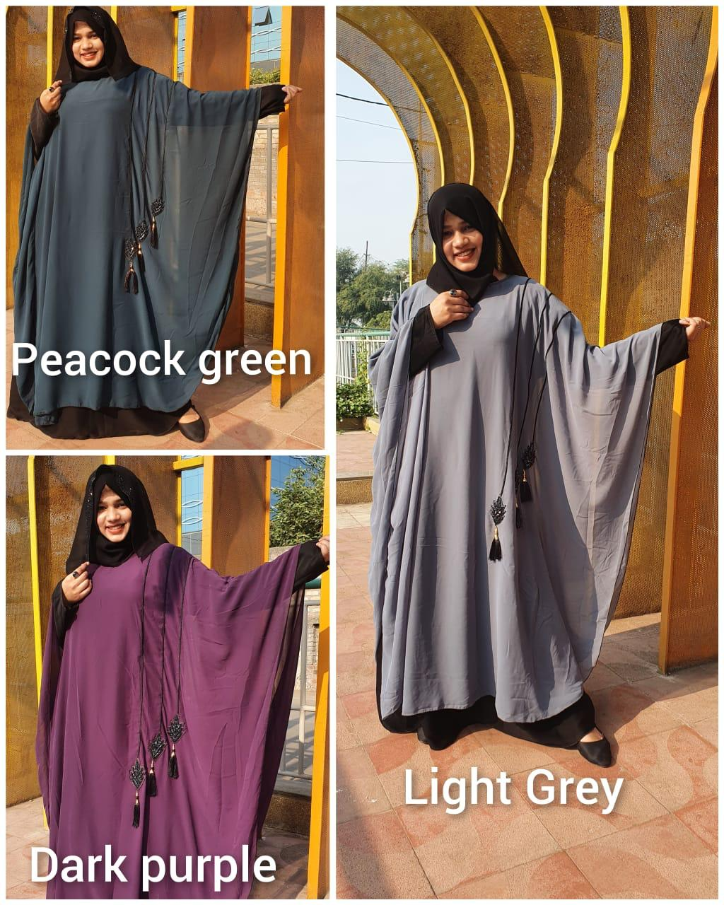 Nida Fabric Stylish Farasha Burqa Designer Georgette Pardi And Handwork Jardoshi Work Patches Burqa In Singles Wholesale