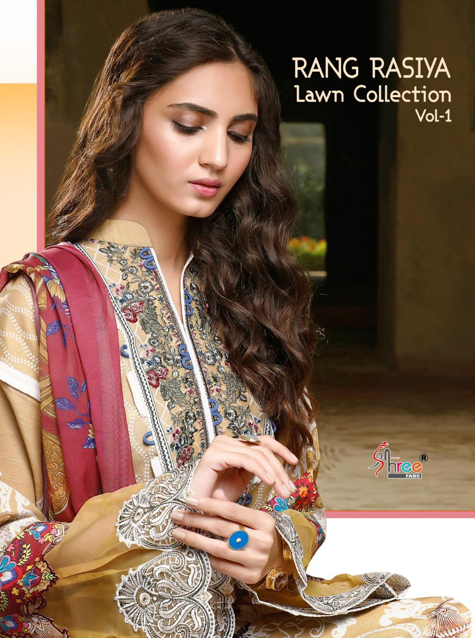 Shree Fab Rangrasiya Lawn Collection-01 Designer Pure Cotton Print With Exclusive Embroidery Work Suits Wholesale