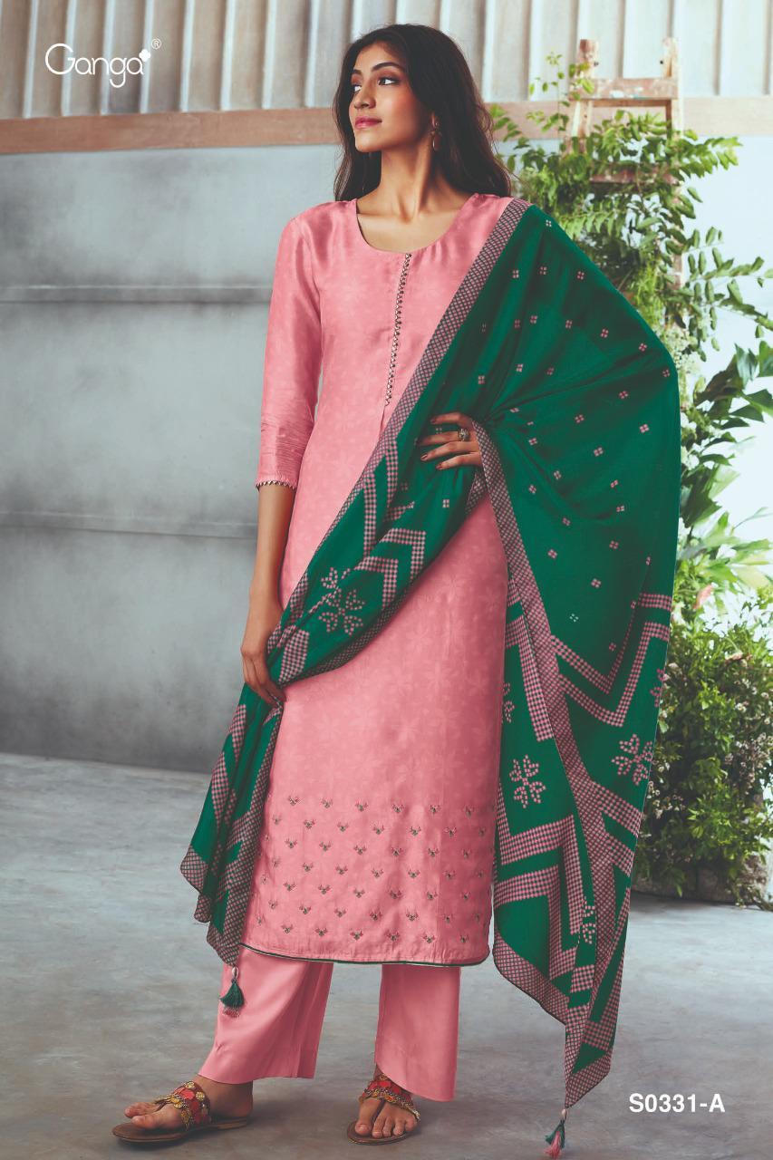 Ganga Hanna 331 Designer Russian Silk Printed Embroidery Hand Work Suits Wholesale