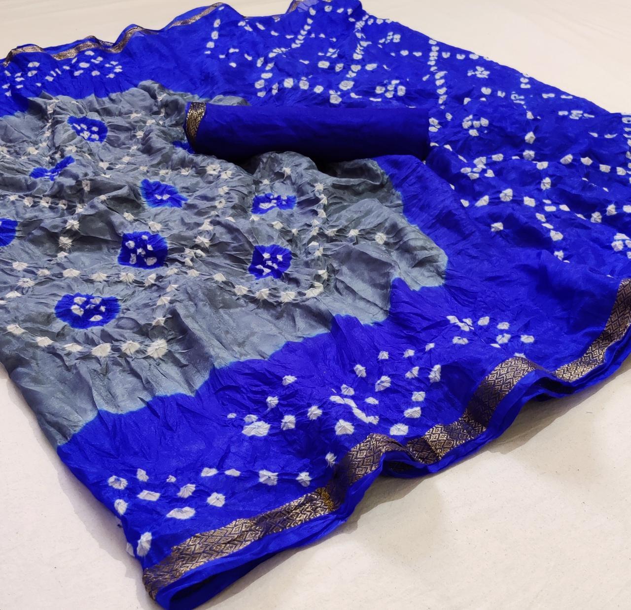 Bandhej Sarees Designer Silk Weaving Border Daily Wear Sarees Law Range In Singles