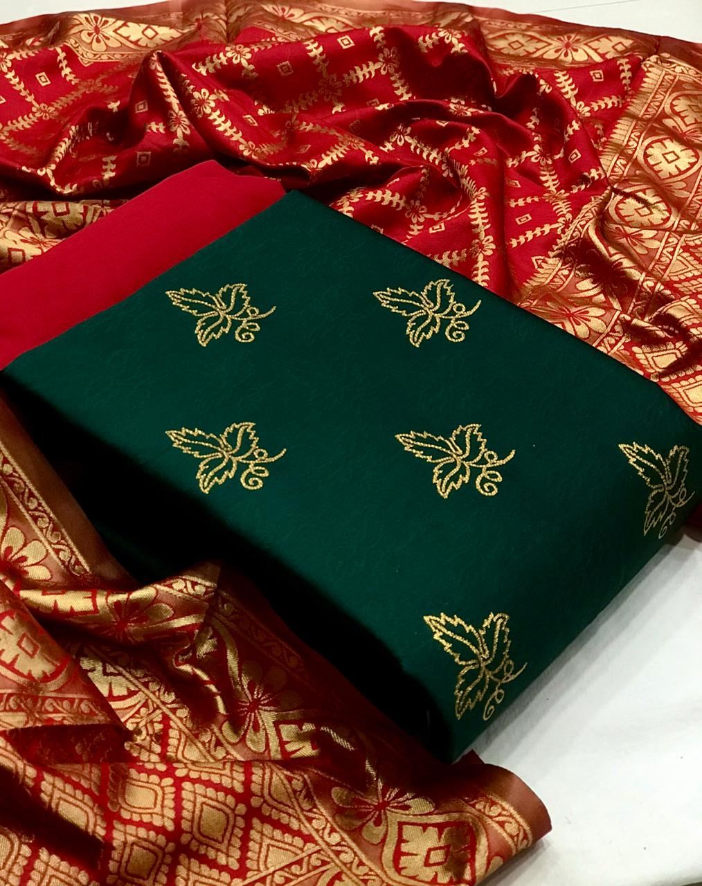 Banarasi Suits Designer Banarasi Silk Suit With Jacquard Dupatta In Singles
