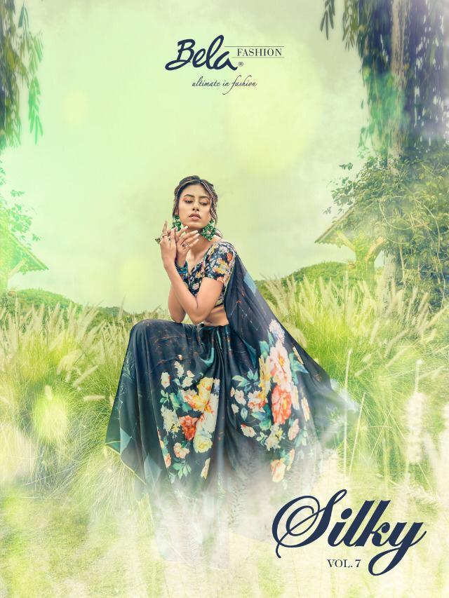 Bela Silky Vol 7 Designer Satun Silk Digital Printed Sarees Wholesale