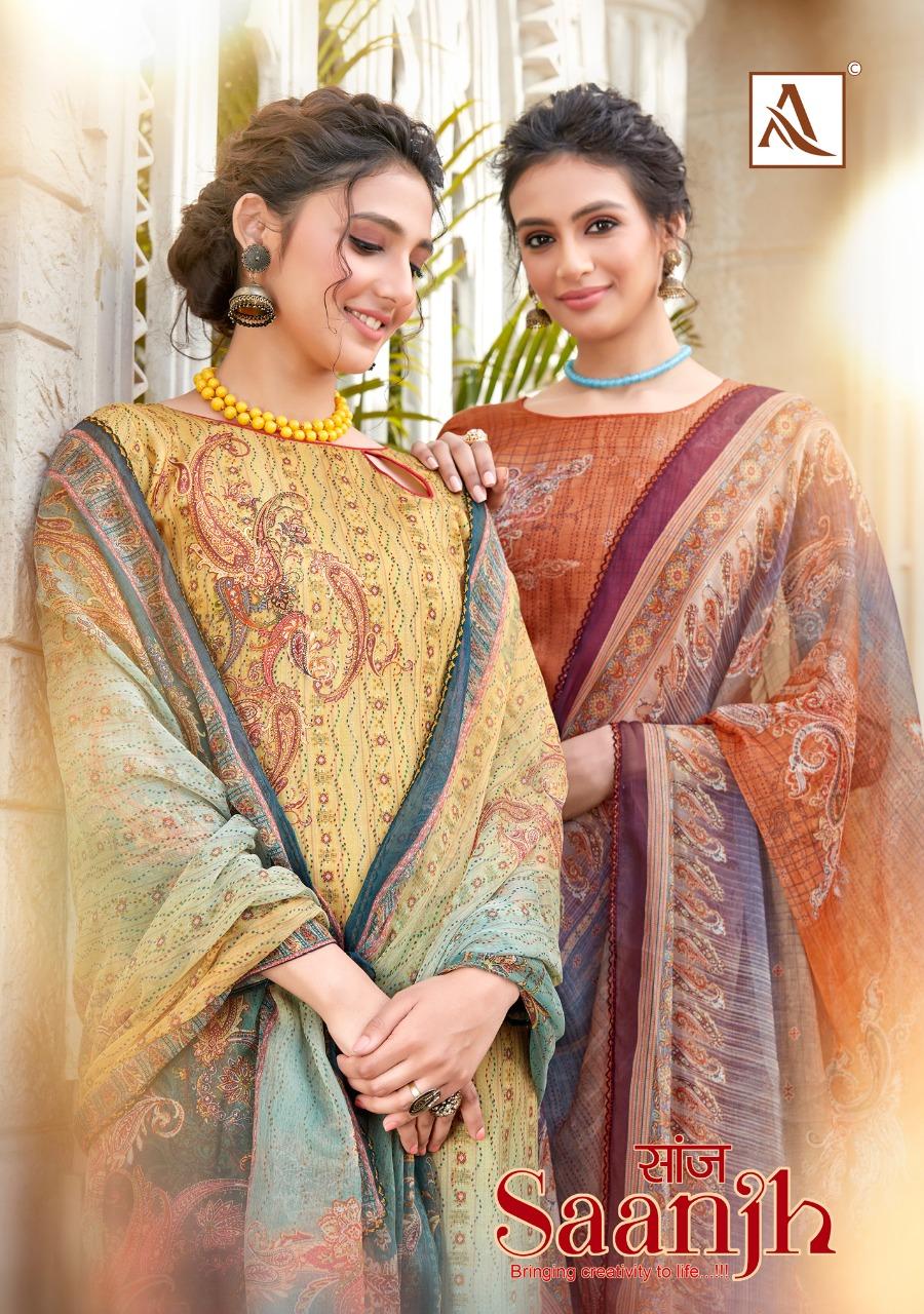 Alok Suit Saanjh Designer Jam Cotton Digital Print With Swarovski Work Suits Wholesale