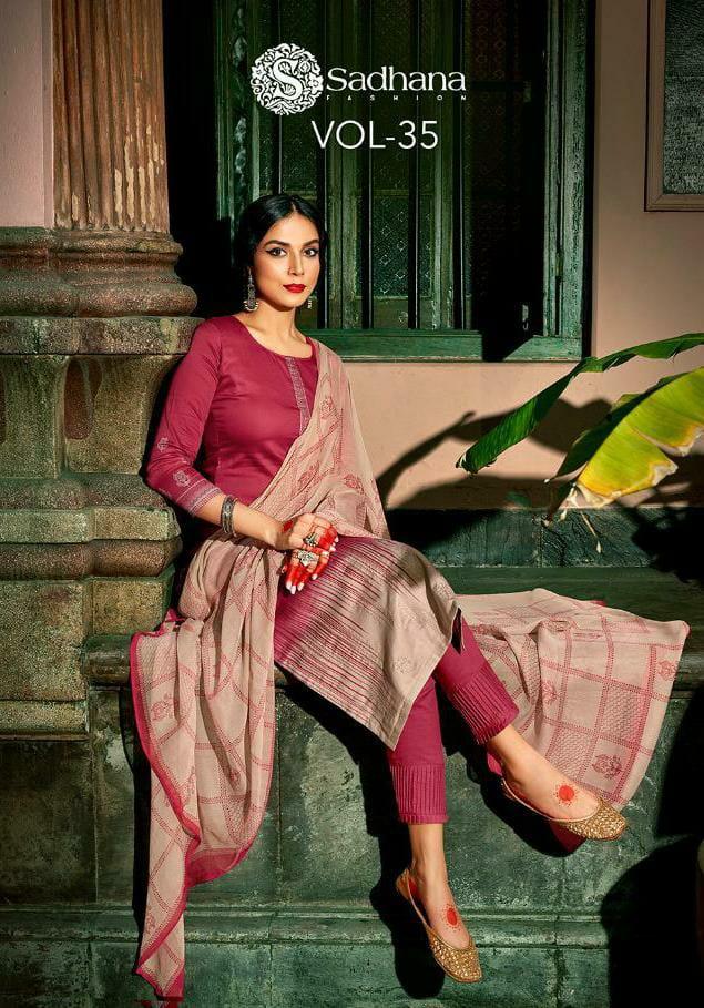 Shadhna Fashion Sadhana Vol 35 Designer Jam Silk With Embroidery Work Suits Wholesale