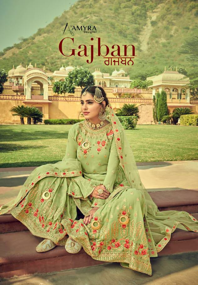 Amyra Designer Gajban Designer Heavy Georgette With Exclusive Embroidery Work Partywear Suits Wholesale