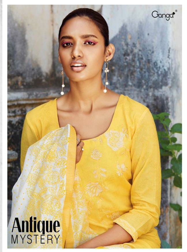 Ganga Antique Myster Designer Superior Cotton With Embroidery Work And Handwork Suits Wholesale