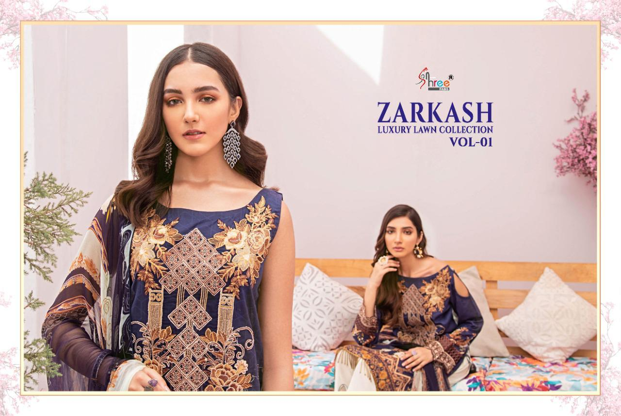 Shree Fab Zarkash Luxury Lawn Collection Vol 1 Designer Lawn Cotton Print With Embroidery Work Suits Wholesale