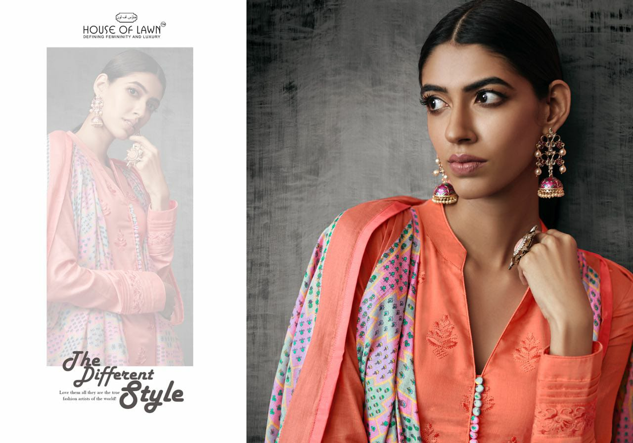 House Of Lawn Shades Of Beauty Designer Jam Satin Self Embroidery Work Suits Wholesale
