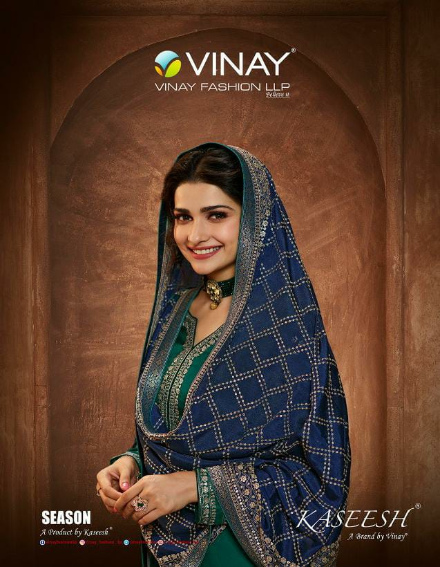 Vinay Fashion Kasheesh Season Designer Embroidery Muslin Satin Suits Wholesale