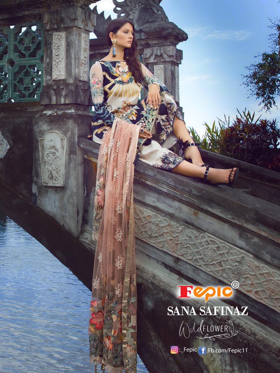 Fepic Rosemeen Sana Safinaz Wild Flower Designer Pure Cambric Cotton Digital Printe With Embroidery Patch Work Suits Wholesale