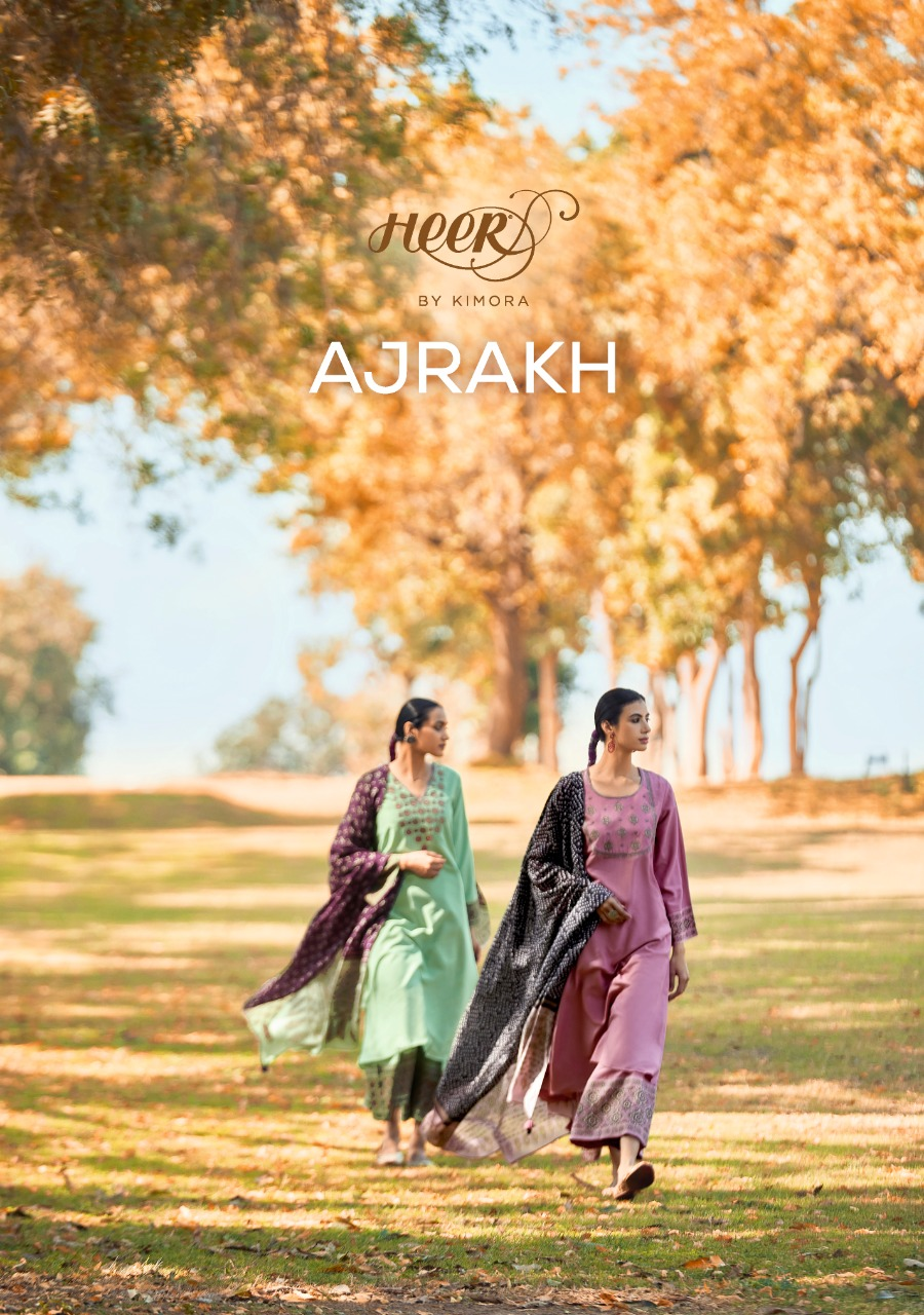 Kimora Heer Ajrakh Designer Pure Cotton Satin Digital Print With Neck Embroidery Work Suits Wholesale