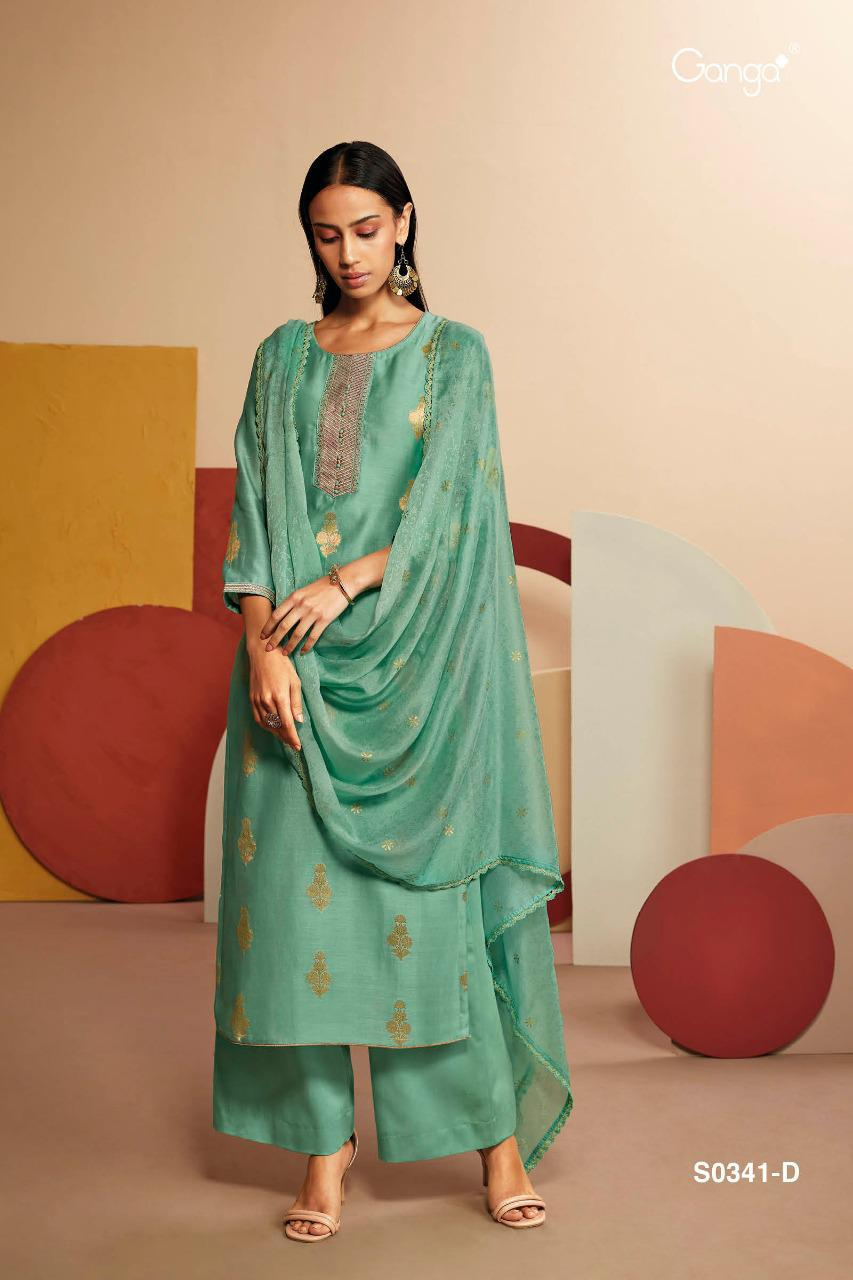 Ganga Lyla 341 Designer Silk Jacquard With Embroidery Work Button Work Suits Wholesale