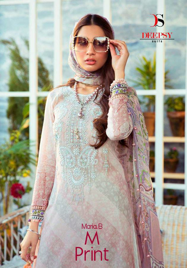 Deepsy Suit Maria B Mprint Designer Pure Cotton With Embroidery Work Suits Wholesale