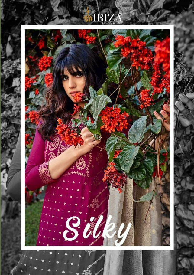 Ibiza Silky Designer Russian Silk Jacquard Heavy Embroidery Work Partywear Suits Wholesale