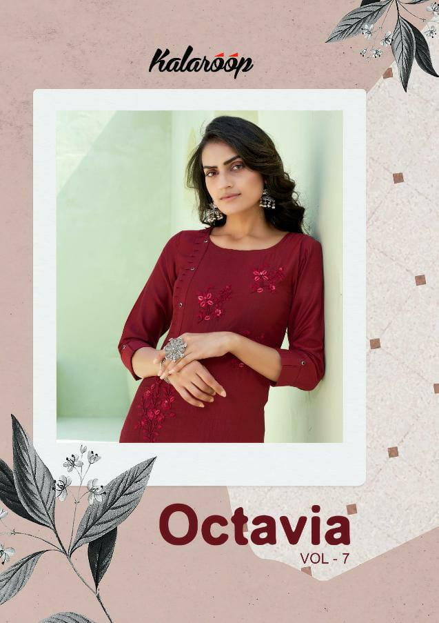 Kalaroop Octavia Vol 7 Designer Lining Silk With Embroidery Work Kurtis Wholesale