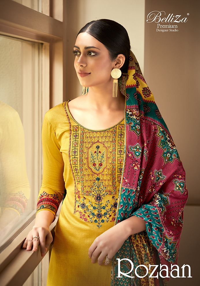 Belliza Rozaan Designer Jam Cotton Print With Fancy Embroidery Work Suits Wholesale