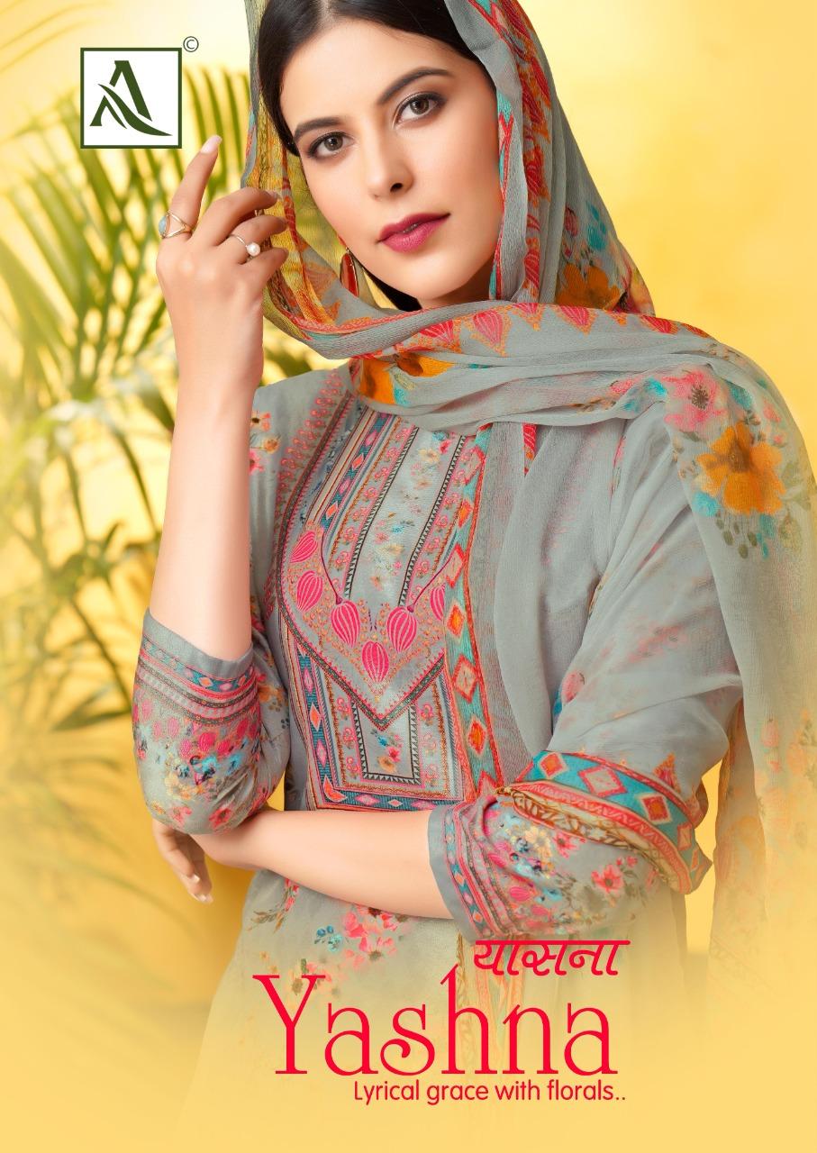 Alok Suit Yashna Designer Pure Cotton Jam Digital Print With Swarovski Diamond Work Suits Wholesale