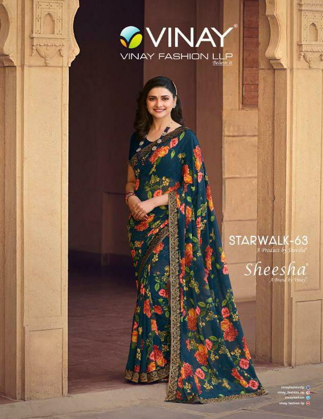 Vinay Fashion Starwalk 63 Designer Printed Georgette With Jacquard Border Sarees Wholesale