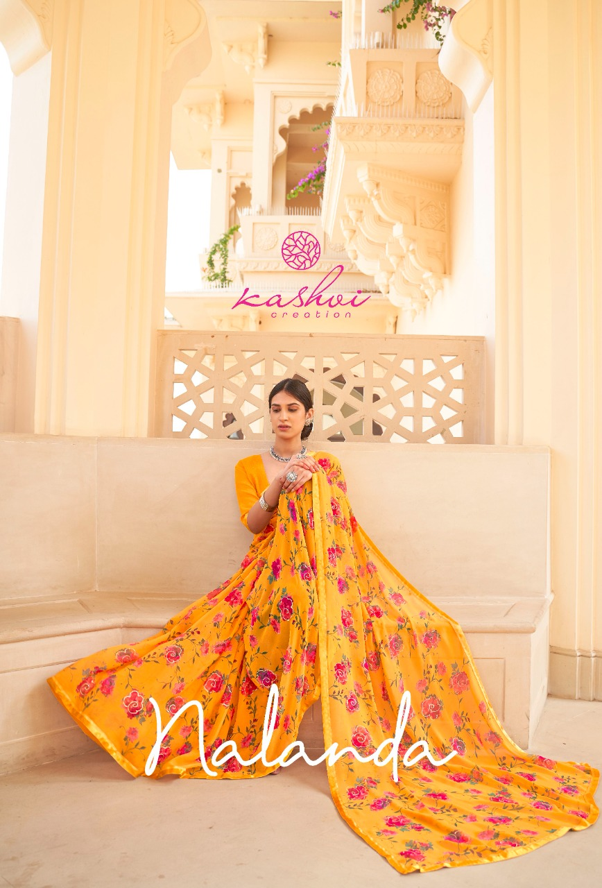 Kashvi Creation Nalanda Designer Georgette With Foil Print Low Range Sarees Wholesale