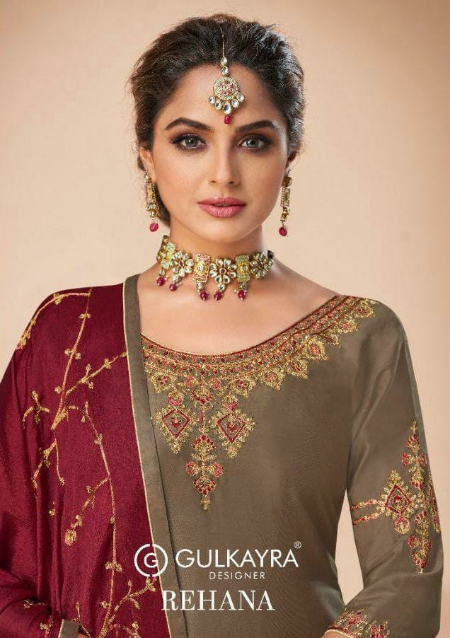 Gulkayra Designer Jam Silk With Heavy Embroidery Work Suits With Sleeve Work Wholesale